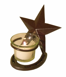 Star w/Horseshoe & Votive Candle GL901 (#50281)