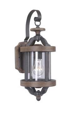 "Craftmade Ashwood 17.25"" Outdoor Wall Lighting - Black/Whiskey Barrell Z7904-14"