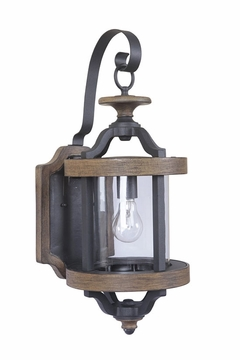 "Craftmade Ashwood 22.5"" Outdoor Wall Sconce - Black/Whiskey Barrell Z7914-14"