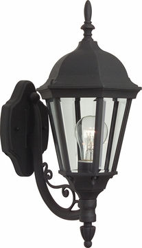 "Craftmade Straight Glass 17.75"" Outdoor Wall Lantern - Black Z317-05"
