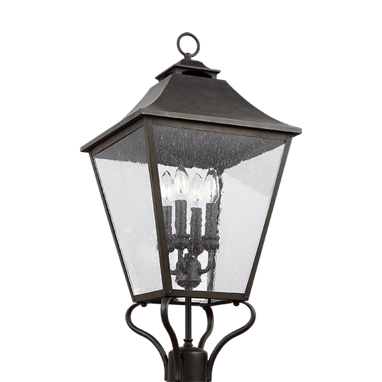 "Murray Feiss Post Base: Feiss Galena 29"" Outdoor Lighting Post Lamp OL14407SBL"