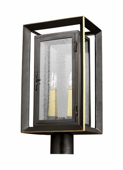 Feiss Urbandale Bronze and Brass Outdoor Post Lantern OL13807ANBZ/PBB