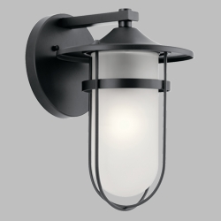 "Kichler Finn 13.25"" Outdoor Wall Light 49825BK"