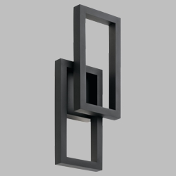 "Kichler Rettangolo 19"" Black LED Outdoor Lighting Sconce 49802BKTLED"