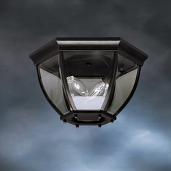 Kichler Townhouse Transitional Fluorescent Flush Mount Exterior Light 9886BK