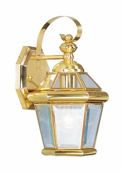 "Livex Georgetown 11"" Exterior Wall Lantern - Polished Brass 2061-02"