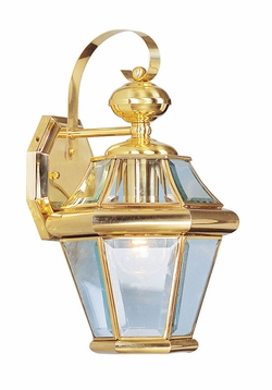 "Livex Georgetown 15"" Outdoor Lighting Sconce - Polished Brass 2161-02"