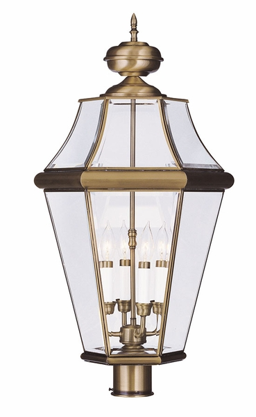 Livex Georgetown 29 Quot Outdoor Lamp Post Antique Brass 2368 01