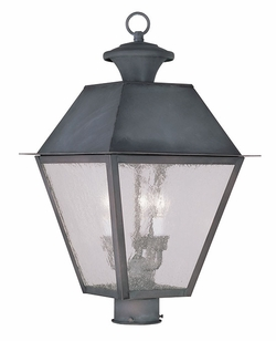 "Livex Mansfield 20.5"" Outdoor Light Post - Charcoal 2169-61"