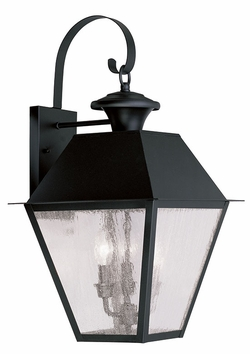 "Livex Mansfield 23.5"" Outdoor Wall Sconce Lighting - Black 2168-04"