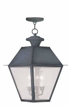 """Livex Mansfield 24.5"""" Outdoor Hanging Lantern - Charcoal 2170-61"""