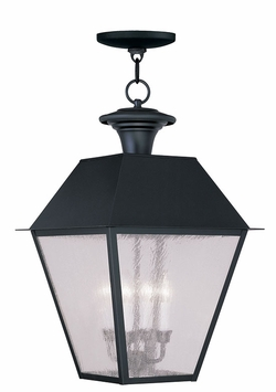 "Livex Mansfield 24.5"" Outdoor Pendant Light Fixture - Black 2174-04"