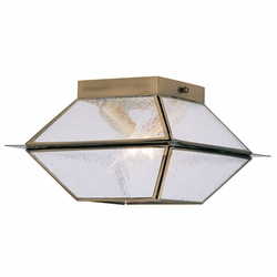 "Livex Mansfield 6"" Outdoor Ceiling Lighting - Antique Brass 2175-01"