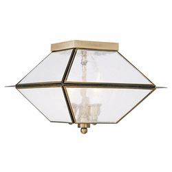 "Livex Mansfield 8"" Outdoor Ceiling Fixture - Antique Brass 2176-01"