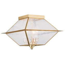 "Livex Mansfield 8"" Outdoor Ceiling Light - Polished Brass 2176-02"