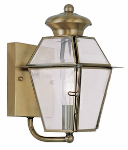 "Livex Westover 9.25"" Exterior Wall Lighting - Antique Brass 2180-01"