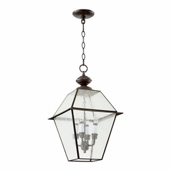 "Quorum Duvall 21"" Outdoor Hanging Lantern - Clear Seeded 728-4-136"