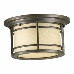 Quorum Larson Flush Mount Outdoor Light - Amber Scavo 3916-11-86