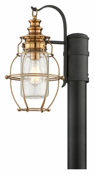 Troy Little Harbor Outdoor Post Lantern - Brass P3575