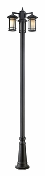 "Z-Lite Woodland 100"" Exterior Post Light - Black 527MP3-519P-BK"