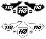 "Kawasaki KLX 110 2002-2009 ""B&W Pinstripe"" Pre-Printed Backgrounds by fast Times"