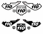 "Kawasaki KLX110 2002-2009 ""Bold B & W"" Pre-Printed Backgrounds by fast Times"