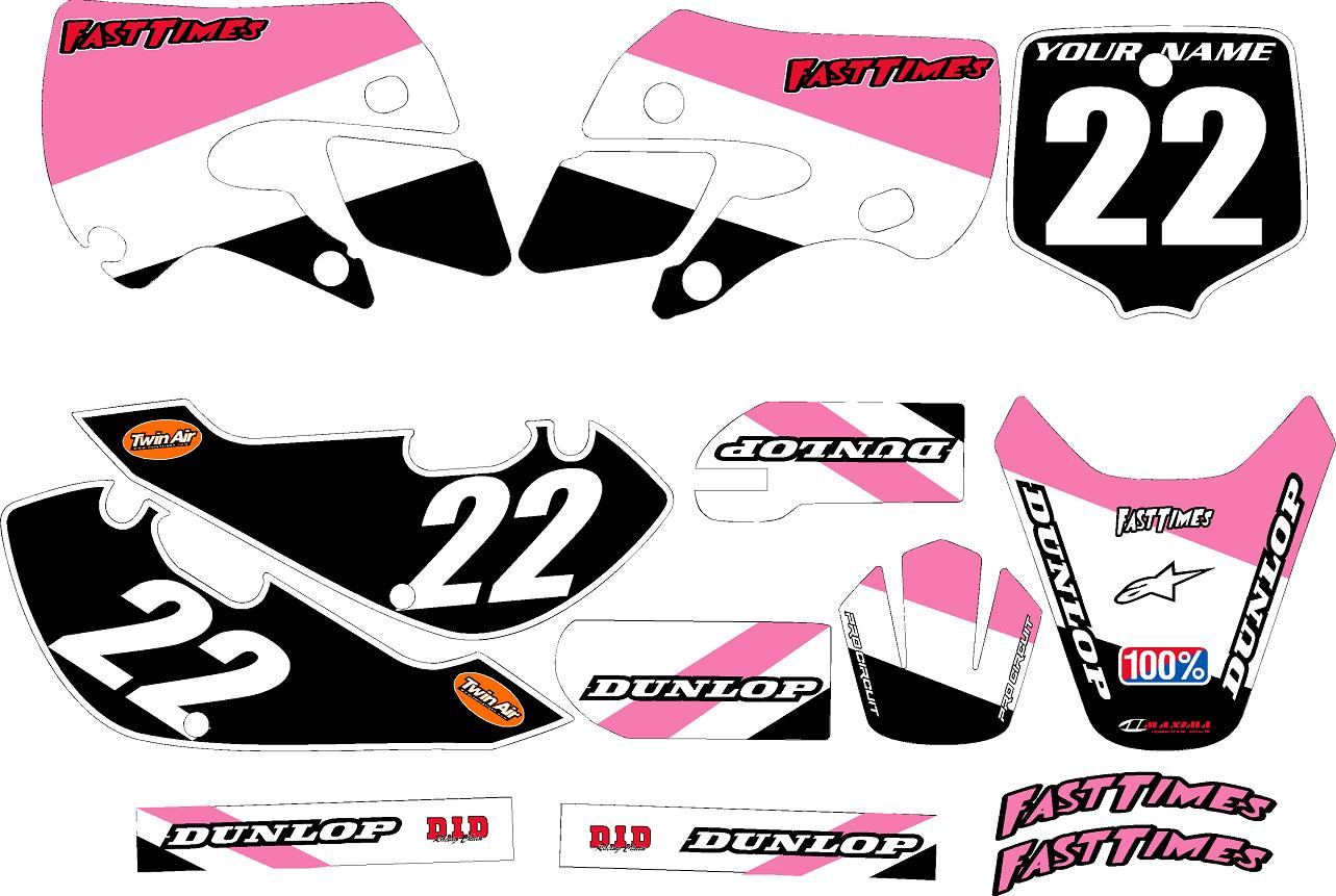 Kawasaki KLX 110 Graphics Kit 2002-2009 (Pink) Stripe Series by