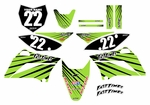 KLX110 Graphics Kit (Green) Lines Series by Fast Times (2010-2020)