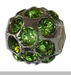 August Silver Ball with Peridot Color Crystals European Bead Charm