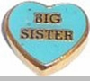 Big Sister Floating Heart Locket Charm