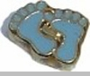 Blue Baby Feet Heart Locket Charm