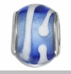 Blue & White Lampwork Murano Glass European Bead Charm