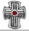 Cross With Red Czech Crystal European Bead Charm