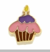 Cupcake With Candle Floating Locket Charm