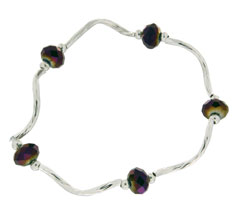 Prism Pals Electric Purple Color Crystal Stretch Bracelet
