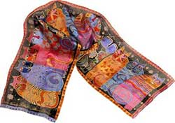 Feline Family Portrait Silk Scarf with Sequins by Laurel Burch