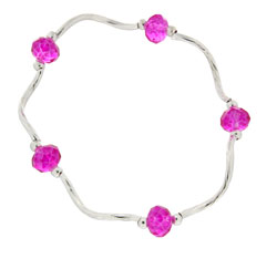 Prism Pals Fuschia Color Crystal Stretch Bracelet