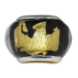 Gold & Black Lampwork Murano Glass European Bead Charm, Pandora Bead and Bracelet Compatible