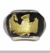 Gold & Black Lampwork Murano Glass European Bead Charm