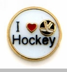 I Heart Hockey Floating Locket Charm