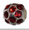 January Silver Ball with Garnet Color Crystals European Bead Charm