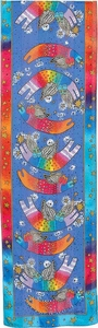 Joyful Cats Blue Silk Scarf with Sequins by Laurel Burch