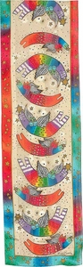Joyful Cats Ivory Silk Scarf with Sequins by Laurel Burch