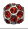 July Silver Ball with Ruby Color Crystals European Bead Charm