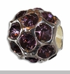 June Silver Ball with Alexandrite Color Crystals European Bead Charm