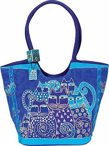 Laurel Burch Indigo Cats Scoop Tote