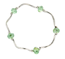 Prism Pals Light Green Aurora Borealis Color Crystal Stretch Bracelet