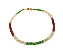 Lily Helena Glistening Ice Crystal Mesh Flat Necklace, Goldtone, Red & Green & Clear