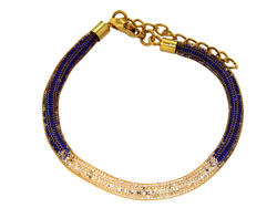 Lily Helena Glistening Ice Crystal Mesh Small Round Bracelet, Gold-tone, Blue & Clear