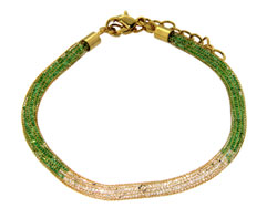 Lily Helena Glistening Ice Crystal Mesh Small Round Bracelet,Gold-tone, Green & Clear